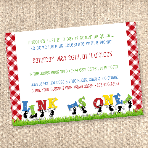 Ants go marching picnic themed invitation shop field house ants gingham first birthday invitation filmwisefo